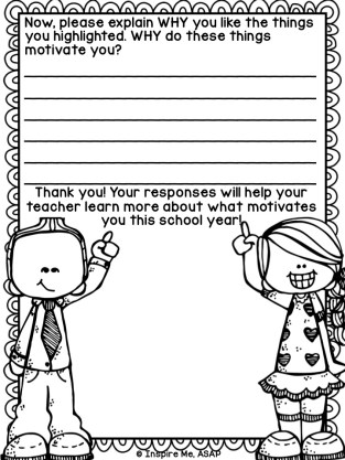 What motivates your students to do well in school? This is an important question to ask at the beginning of a school year. This FREEBIE will help you do just that!