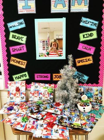 A picture of our classroom kindness tree, and all the student presents underneath!