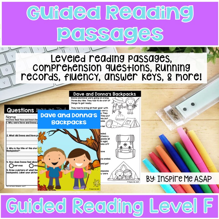 Level F Guided Reading Passages For First Grade - Inspire Me ASAP