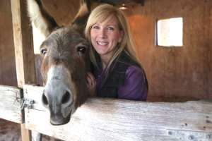 Rachel Anne RIdge with Flash the Donkey