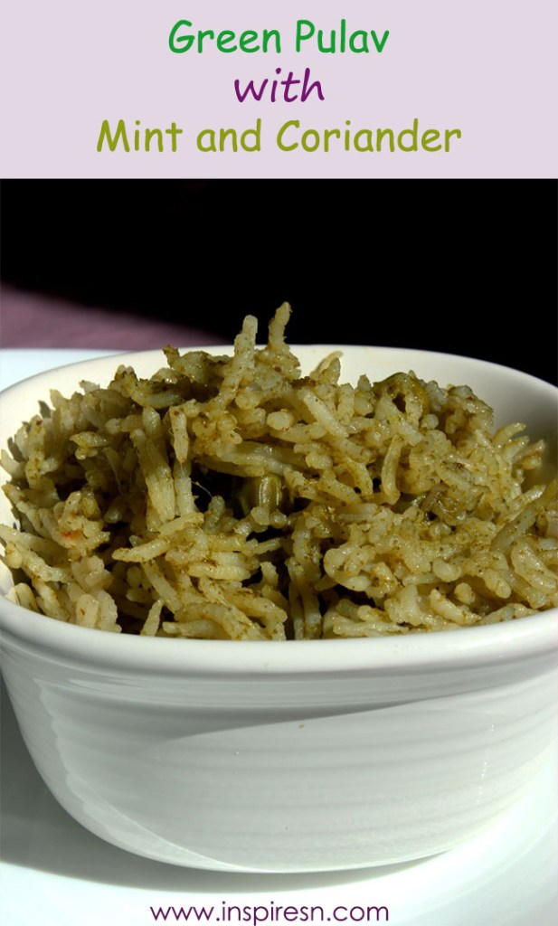 Green pulav with mint and coriander