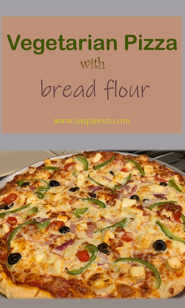 Vegetarian pizza with bread flour