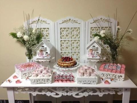 Decoração Batizado Rosa com Branco – Festa da leitora Patricia Vasques