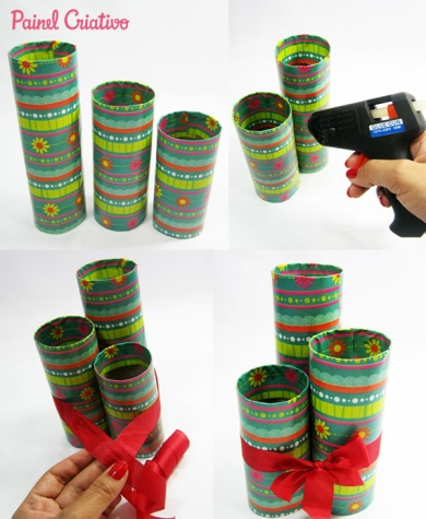 porta lapis com tubos de papelao 5