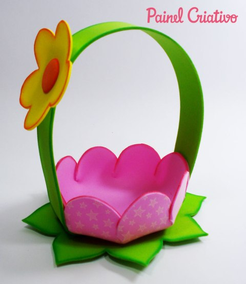 Como fazer Cestinha formato de flor em EVA
