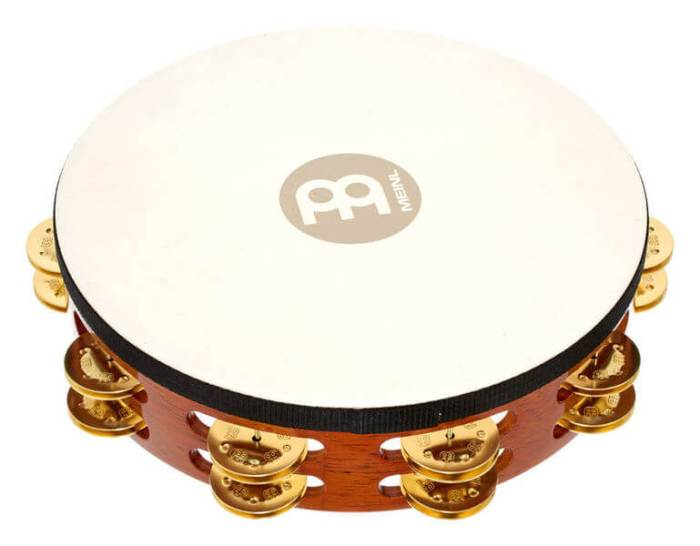 tamborin dengan membran kulit, sebagai alat musik ritmis
