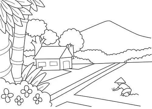 gambar mewarnai pemandangan sawah dan gunung