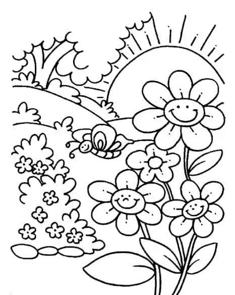 gambar mewarnai pemandangan taman bunga dan matahari