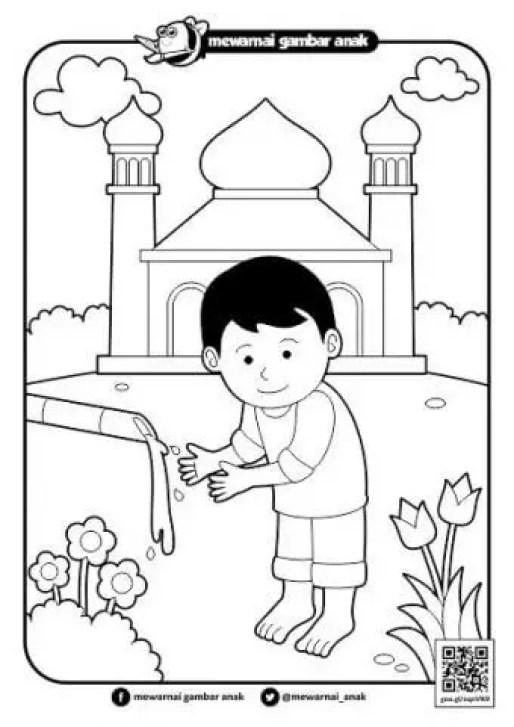 mewarnai gambar masjid
