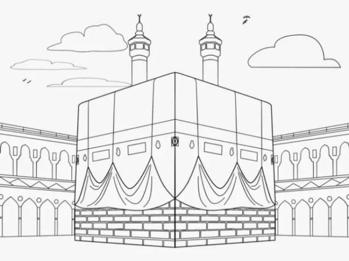 mewarnai gambar masjidil haram kabah