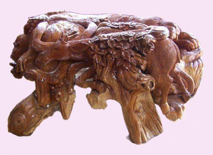 gambar meja dari akar kayu jati