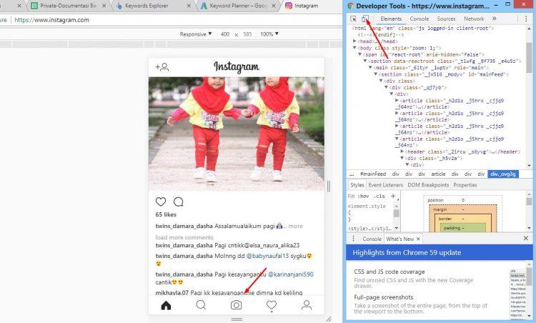 cara upload foto di instagram lewat pc tanpa software lewat google chrome