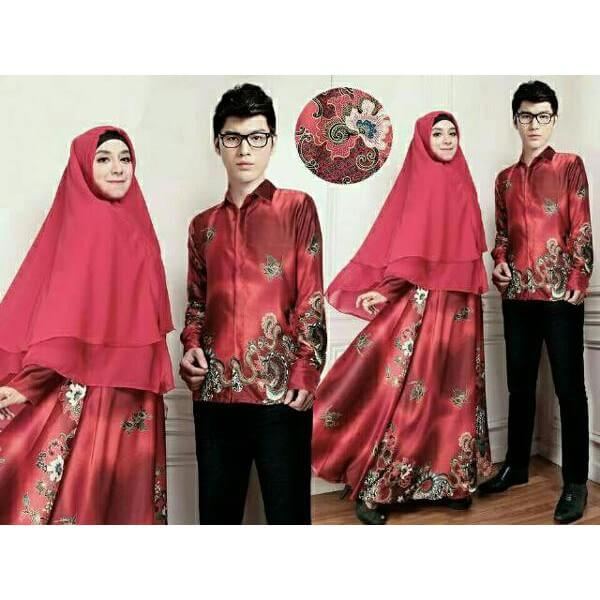 Gamis Batik Kombinasi Kain Polos Model Terbaru 2017 Dress Brokat