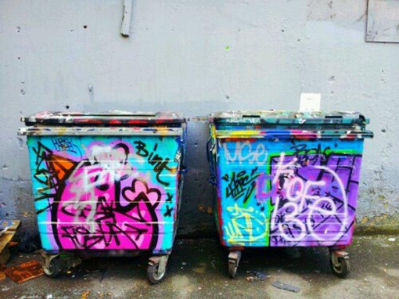 Graffit bins by Binty Bint in the Leake Street Tunnel