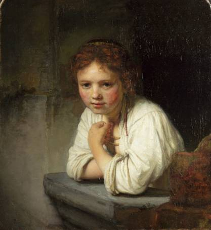 Girl at a Window by Rembrandt painted in 1645 and one of the most famous paintings in the Dulwich Picture Gallery