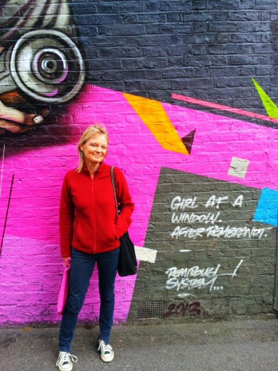 Ingrid Beazley during her interview with Inspiring City at the Dulwich Outdoor Gallery