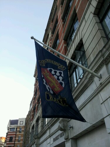 The flag flying outside Haberdashers Hall on West Smithfield