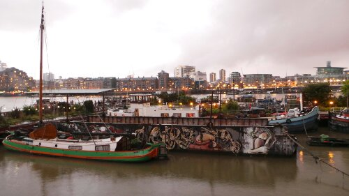 The barge as seen from the foreshore at Bemondsey Wall West