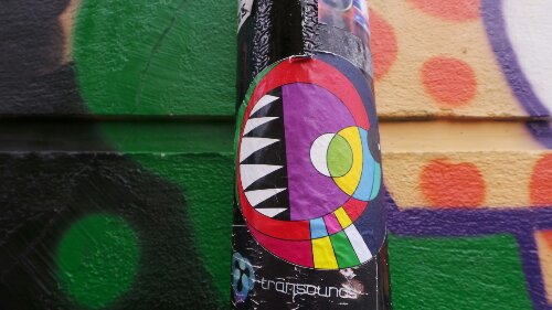 Multi-coloured stickers by the Eine on Ebor Street