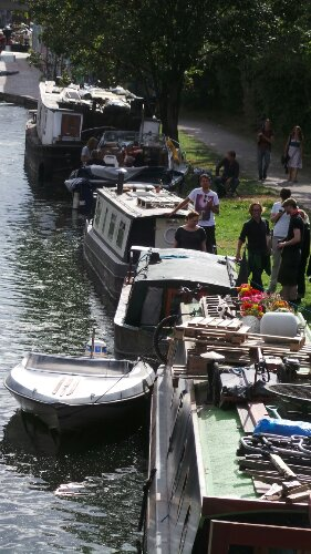 The barges of the Hertford Union Canal leading to Victoria Park
