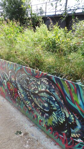 Influenced by tribal patterns Mural on the Marsh was only the second time Karis had tried outdoor painting