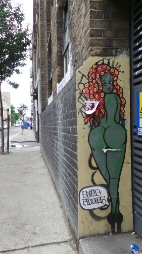 On Quaker Street, some more street art.  This time a buxom green lady