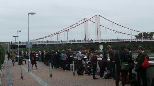 Queues along the embankment to Chelsea Bridge