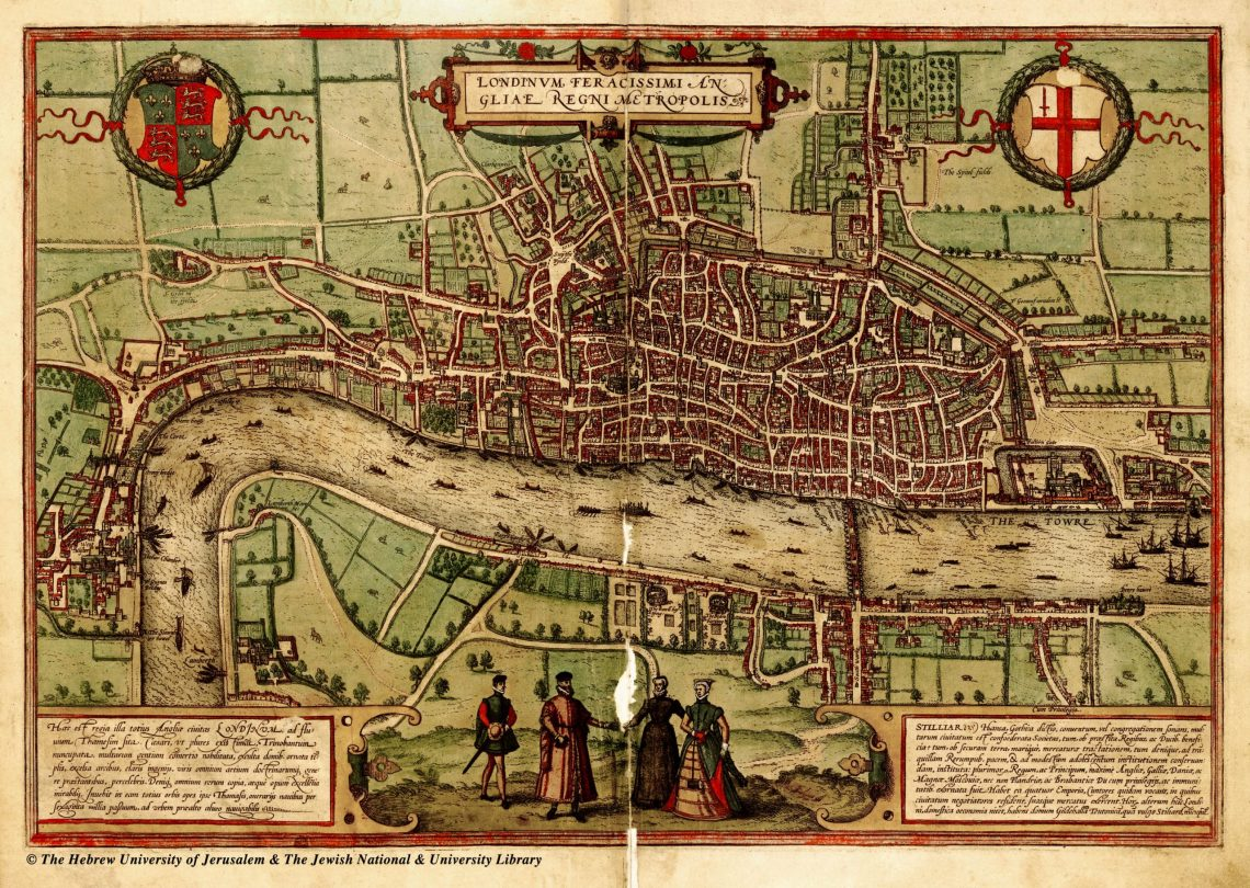 Old Map of London circa 1560 showing Brick Lane and Spitalfields as fields