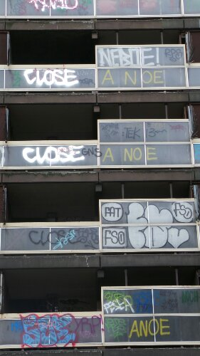 Now daubed with graffiti the estate is boarded off
