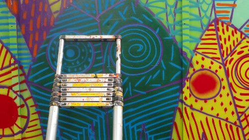 Ladder resting by 616's work