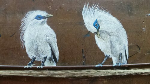 Birds on a violin string.   Musical references are included throughout the work in the show