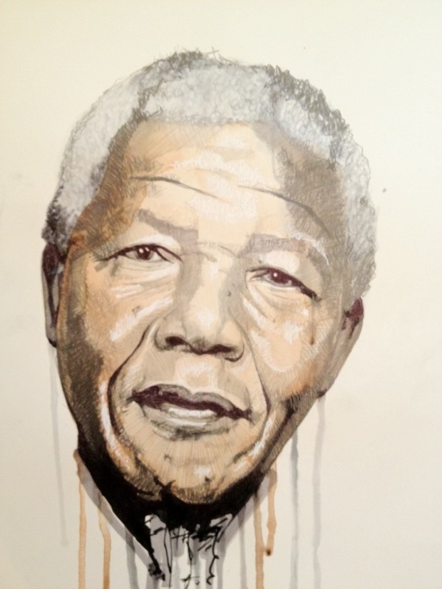 The Curious Duke Gallery on Whitecross Street posted this statesmanlike portrait of Mandela by Ben Levy