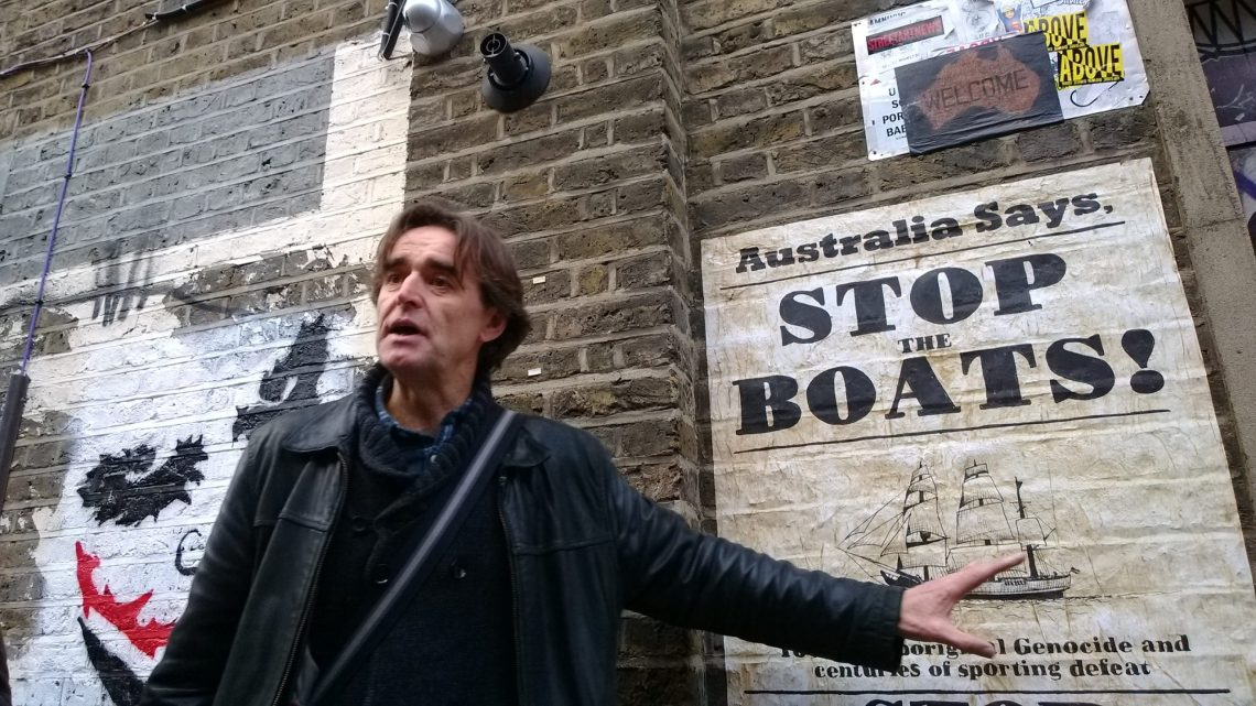 Dave 'NoLionsInEngland' Stewart led the tour and explains some of the art of the area