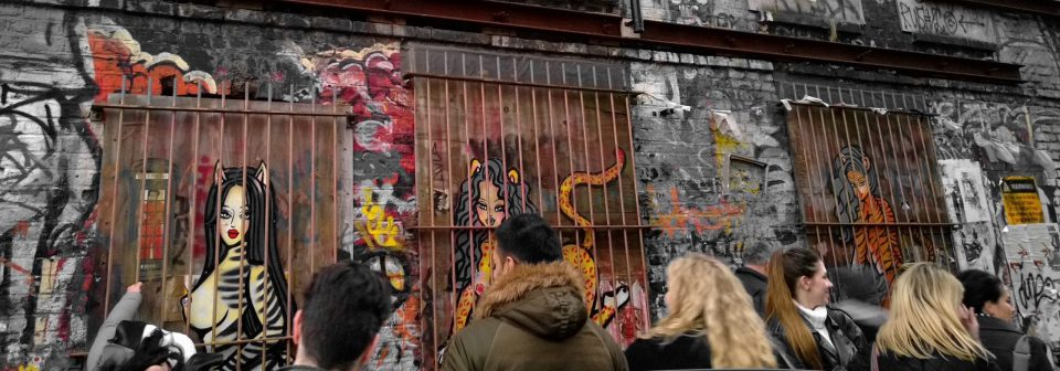 Bloggers checking out some of the ladies in Saki & Bitches London Zoo on Sclater Street