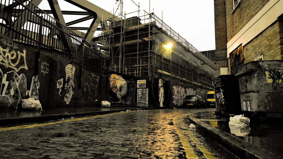 Grimsby Street in the rain.  An atmospheric street at the best of times I took out all the colour apart from the yellow