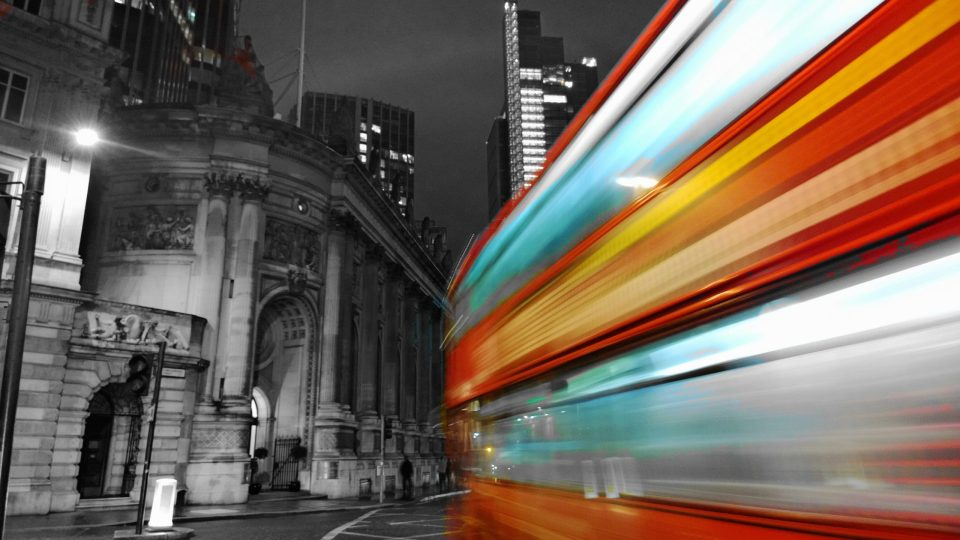 This shot of a Night Bus zooming through the city is one of my favourites.  Basically the colour has been taken out and then the buses colour has been put back in.