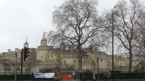 Tower of London as seen from what where the Abbey of St Mary Grace would have been