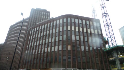 This empty and unused office building sits in the space between Minories, St Clare Street and Aldgate High Street in the space that would have once been occupied by St Clares Abbey
