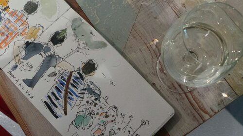 Sketchbooks were available to flick through