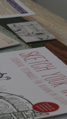Sketch Your World, the newly published book by James Hobbs was available to flick through