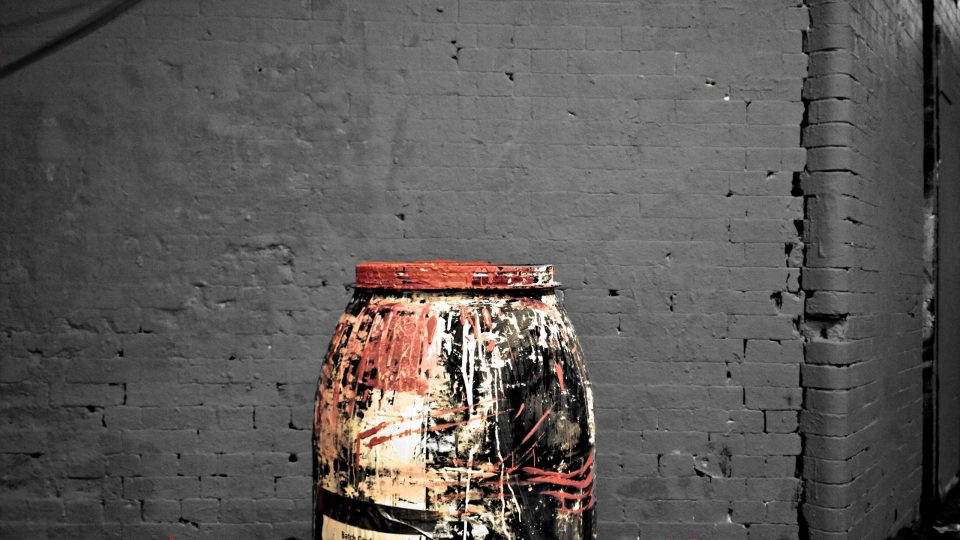 This is one of my favourite images, it's the barrel of pink paint that was used to coat the walls