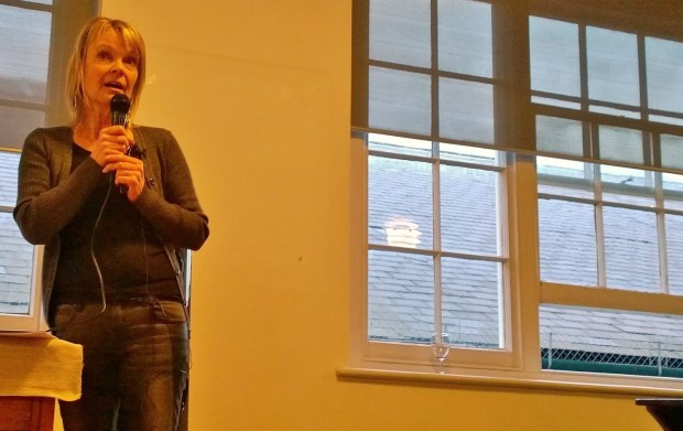 Ingrid giving a speech to the guests at the launch