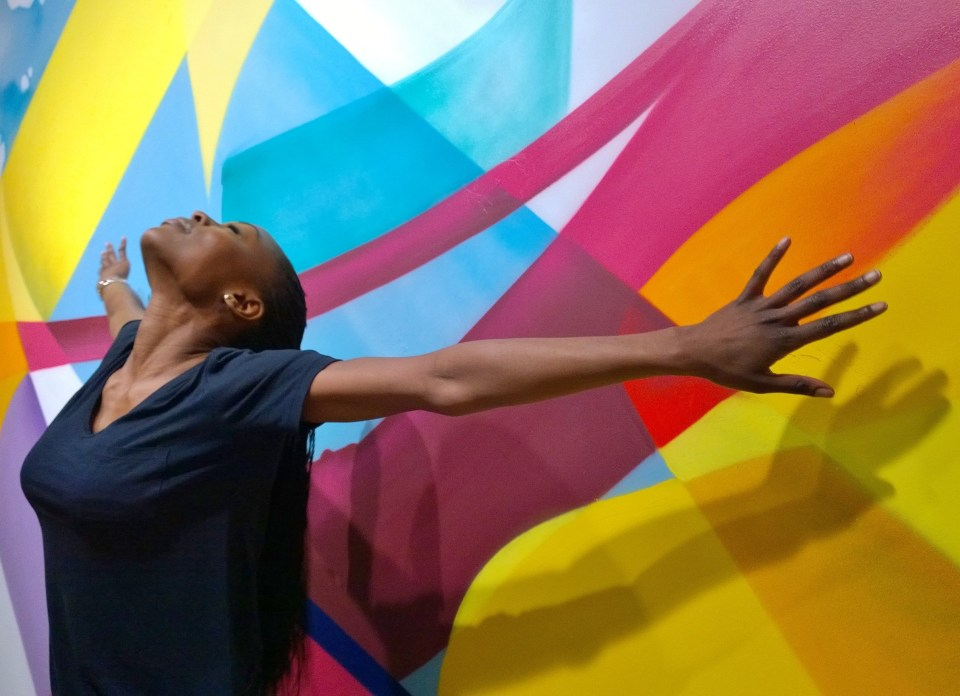 Bringing the art to life.  MadC's wall in the gallery acts as a perfect background
