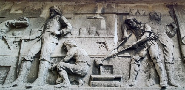 Bryer & Sons frieze at the entrance to the Barbican