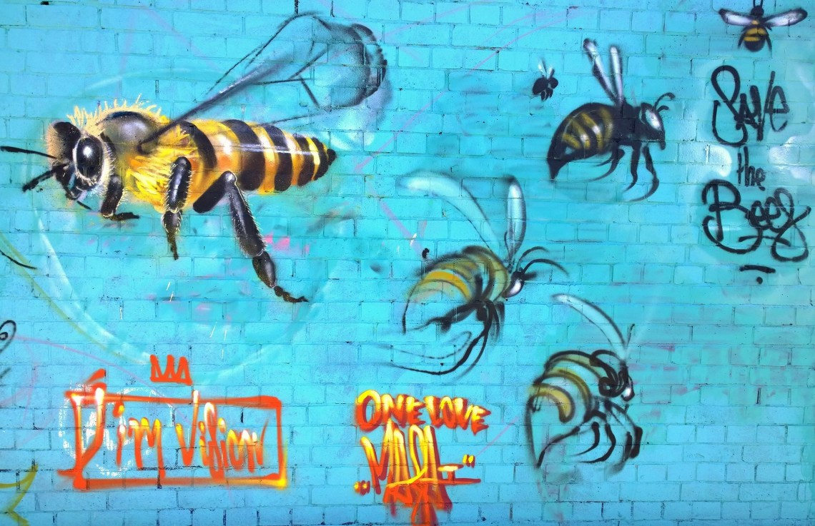 Bee Street Art by Jim Vision and Louis Masai