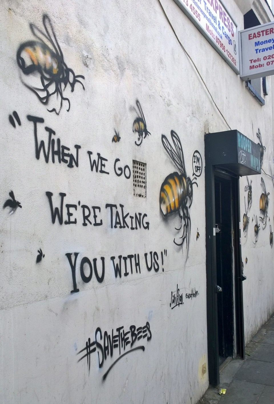 When we go we're taking you with us - Vallance Road