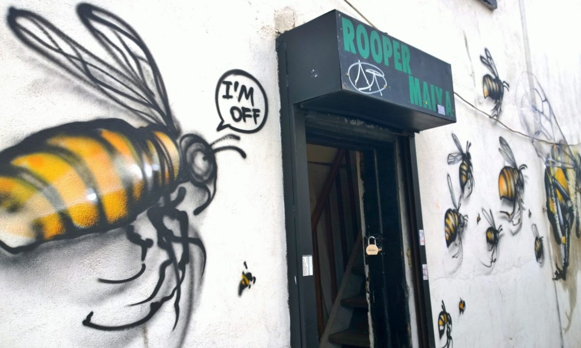 Bee street art on vallance road