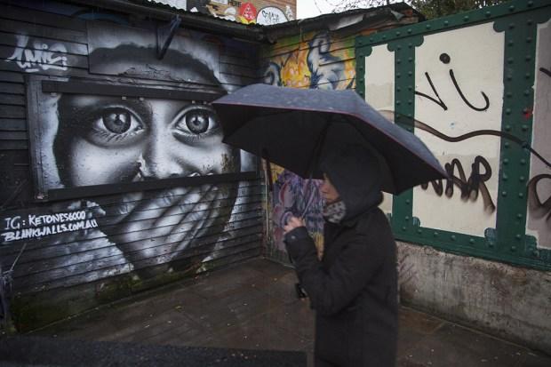 Rain on the Lane next to work from Australian artist Ketones