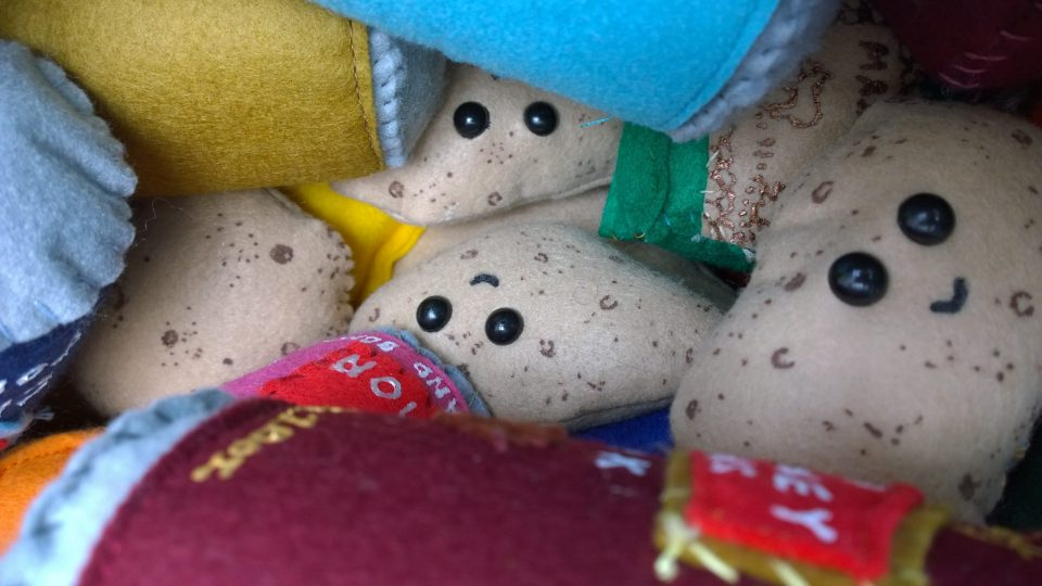 Cute little potatos hiding away