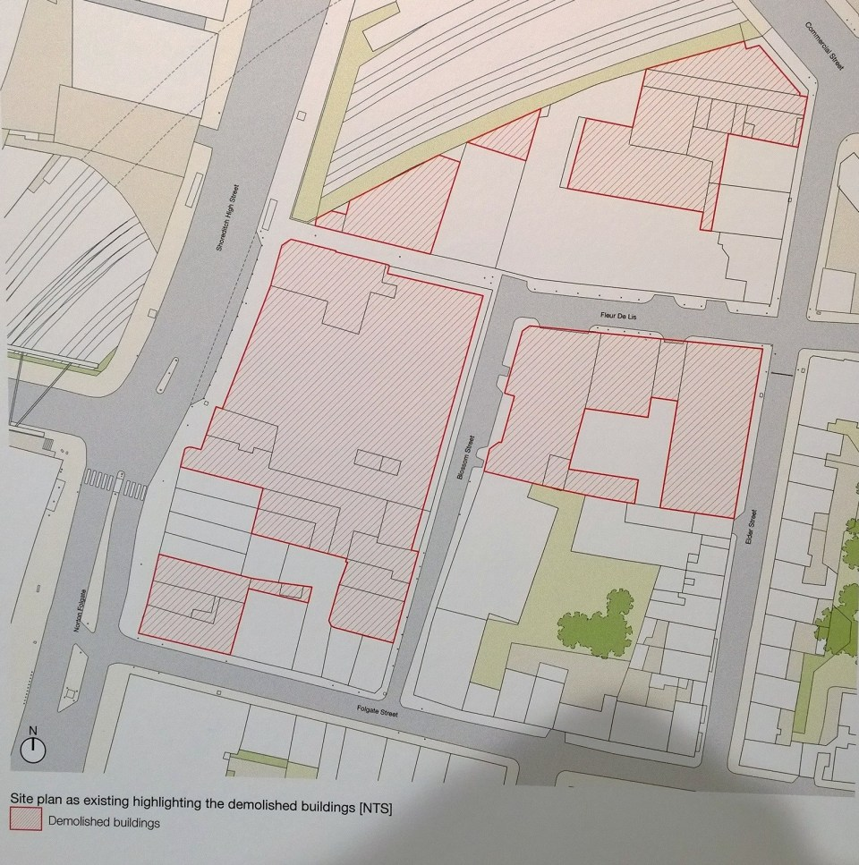 Map showing the amount of buildings which are proposed to be destroyed
